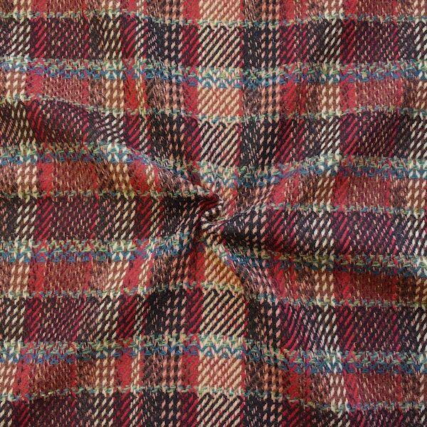 Tweed Wollmix Mixed Karo Rot-Braun