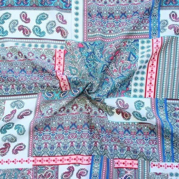 """Polyester Chiffon """"Patchwork Paisley"""" Multicolor 2"""