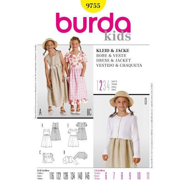 Burda 9755 Dirndl-Schnittmuster für Kleid in zwei Varianten, Schürze und Jacke
