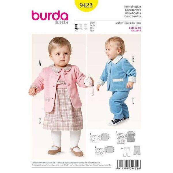 Burda 9422 Schnittmuster für Babykombi für Mädchen und Jungen Jacke, Gummizughose und Kleid