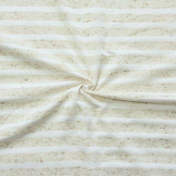 Leinen Polyester Jersey Querstreifen Beige meliert