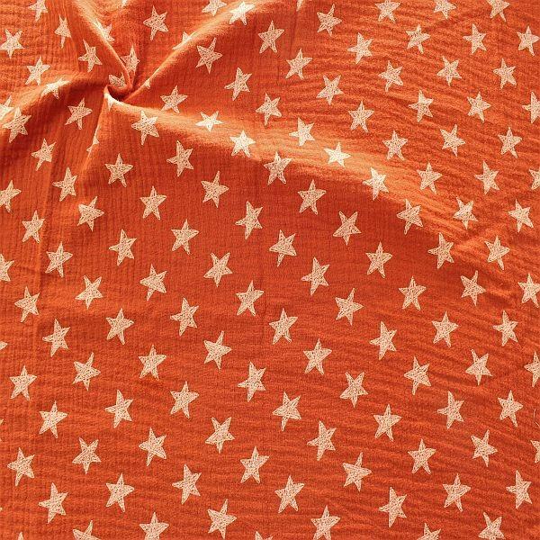 Baumwolle Musselin Sterne Rost-Braun