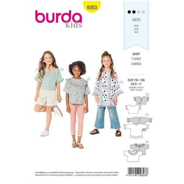 Shirt mit angeschnittenen Ärmeln – Tunika – Rüschen, Gr. 116 - 146, Schnittmuster Burda 9303