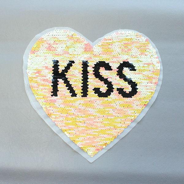 Wendepailletten Patch Herz-Kiss Gelb-Rosa Silber