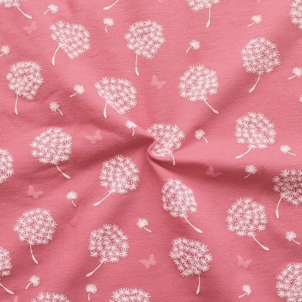 "Sweatshirt Baumwollstoff French Terry ""Pusteblumen & Schmetterlinge"" Farbe Alt-Rosa"