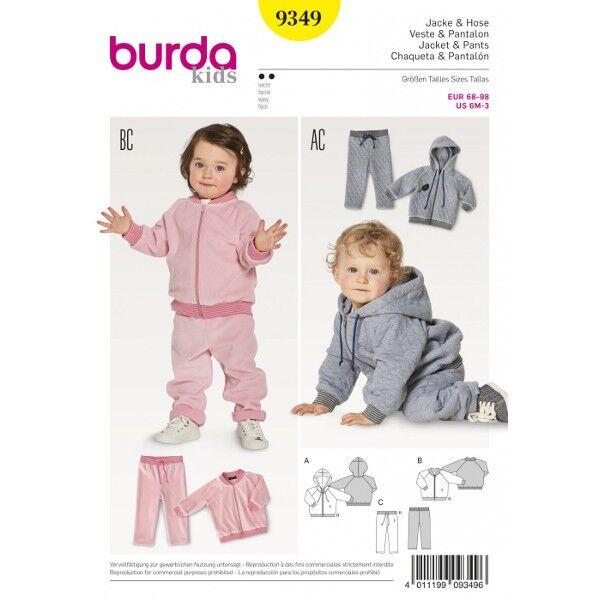 Burda 9349 Schnittmuster für Jogginganzug bestehend aus Kapuzenjacke, Blouson und Hose