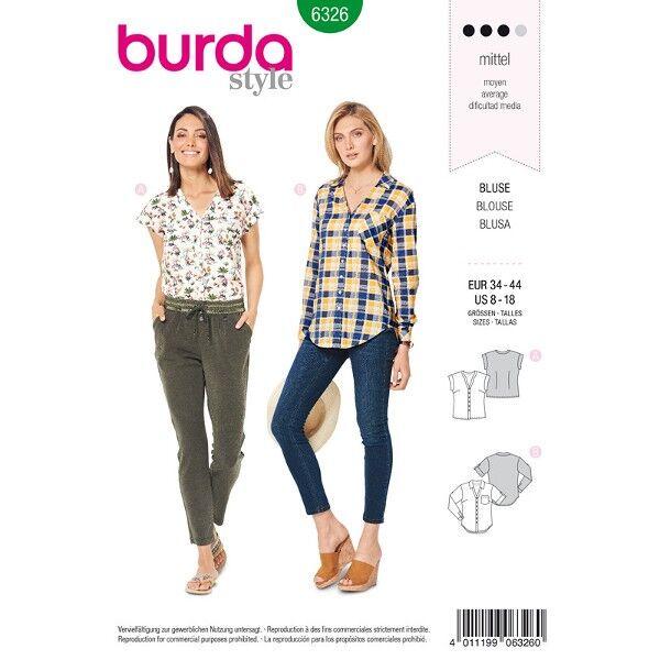 Bluse, Karo-Bluse Gr. 34 - 44, Schnittmuster Burda 6326