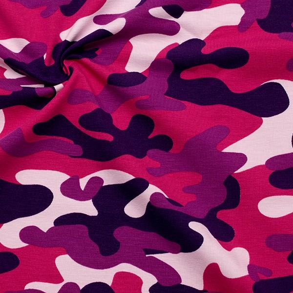 Baumwoll Stretch Jersey Camouflage Pink