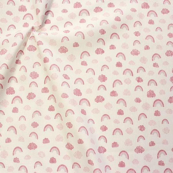 Baumwollstoff Regenbogen & Wolken Ecru-Rosa