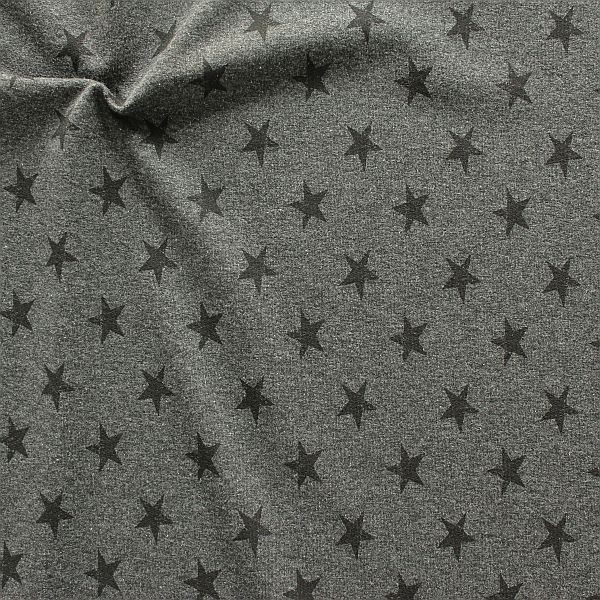 Sweatshirt Baumwollstoff French Terry Sterne Used Look Anthrazit meliert