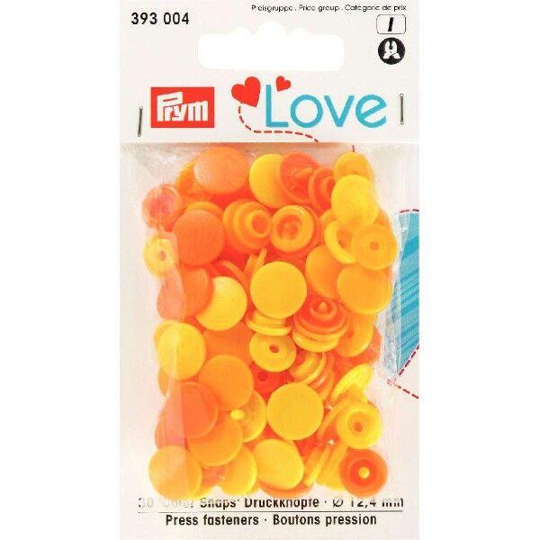 Prym Love Druckknopf Color, Color Snaps Kunststoff 30 Stück Ø 12,4mm gelb