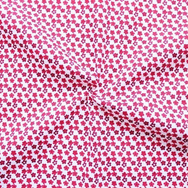 100% Baumwollstoff Little Blossoms Weiss-Pink