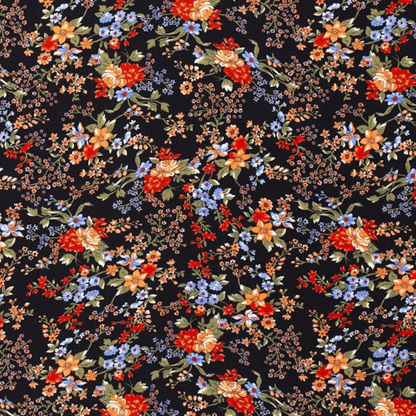 100% Viskose Javanaise Blumen Romantik Schwarz