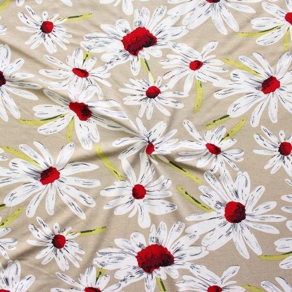 """Viskose Stretch Jersey """"Margeriten Blüten"""" Farbe Beige"""