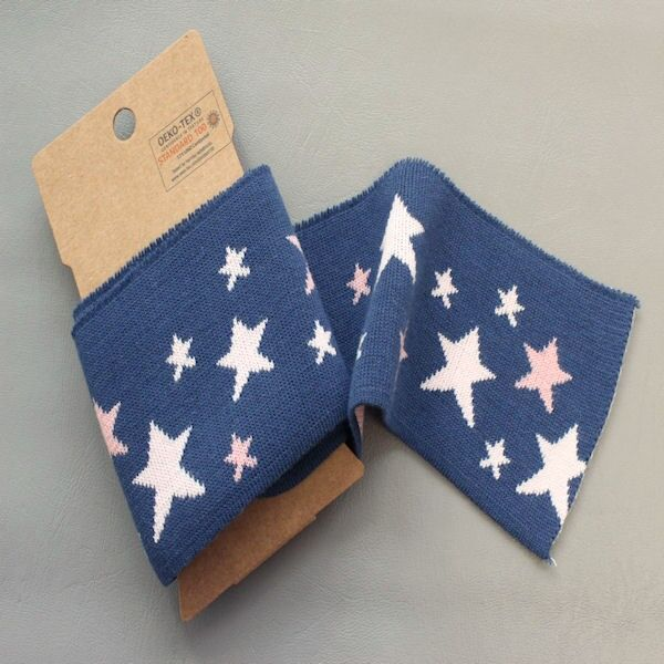 Board Cuff Bündchen Sterne Mix  Dunkel-Blau