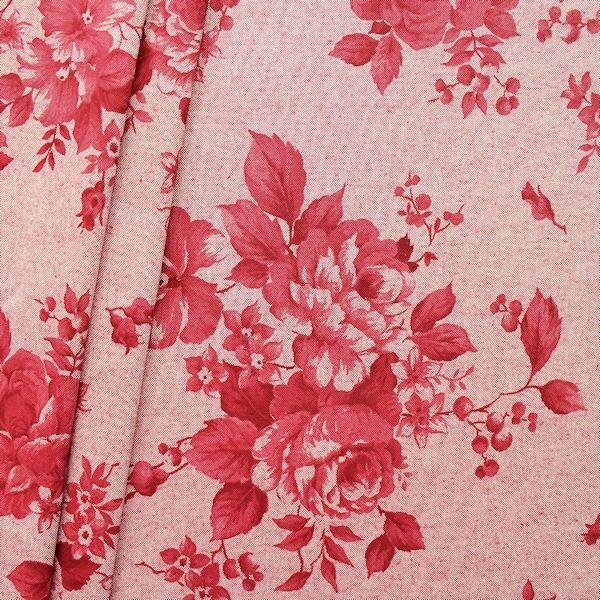 """Dekostoff """"Rosen groß 3"""" Farbe Rot"""