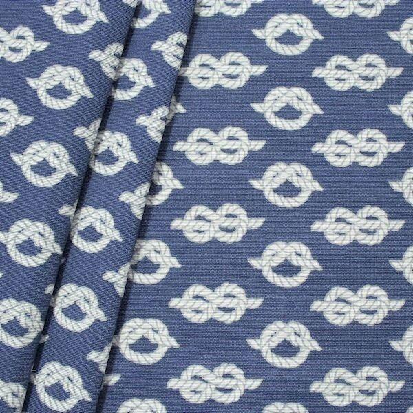 "Dekostoff ""Maritime Knoten"" Farbe Blau-Weiss"