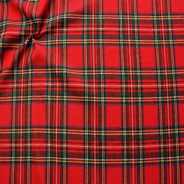 Wollmix Stoff Scottish Checks Rot-Multicolor
