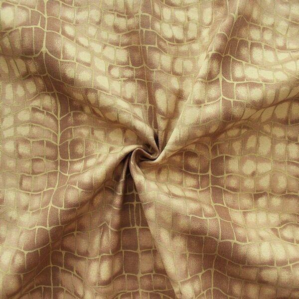 """Stretch Baumwollstoff """"Grid Look"""" Artikel Glamour Farbe Beige-Braun-Gold"""