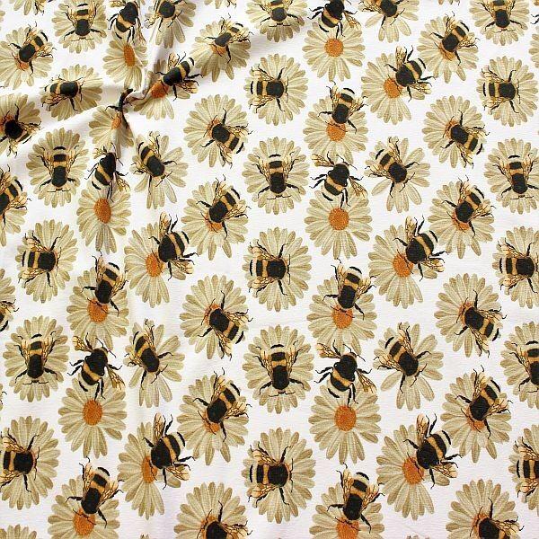 Baumwoll Stretch Jersey Hummeln & Blüten Weiss