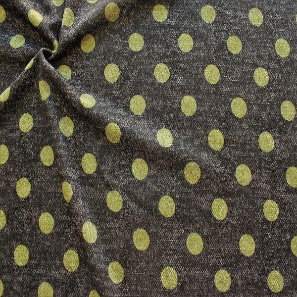 Jacquard Strick Jersey Dots Anthrazit-Grün
