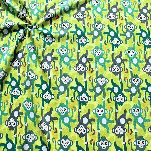 Baumwoll Stretch Jersey Affenbande Grün