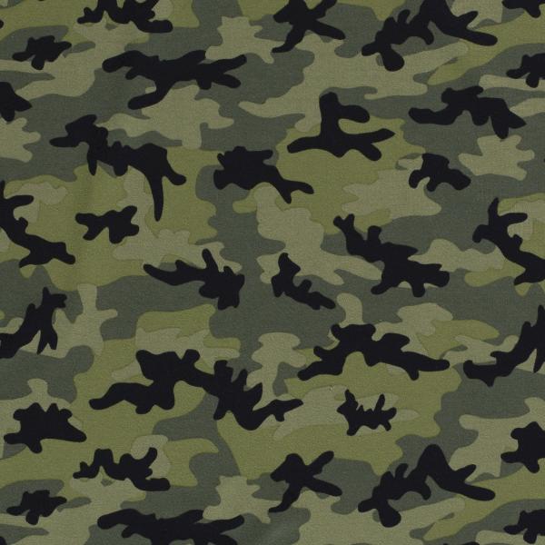 Baumwoll Stretch Jersey Camouflage Grün