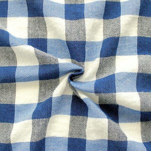 "100% Viskose Crêpe ""Karo"" Farbe Blau"