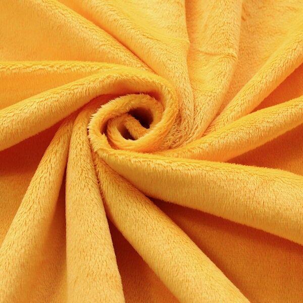 Microfaser Plüsch Stoff Fluffy Gelb