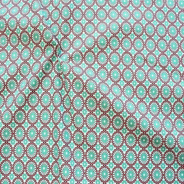 Baumwolle Popeline Retro Blumen Mint-Grün