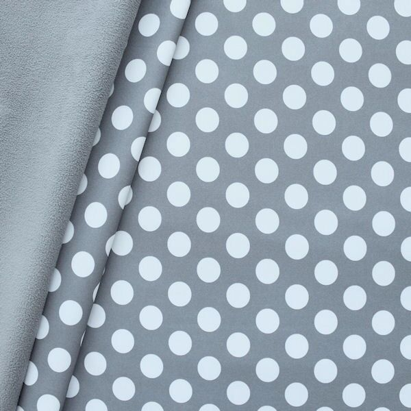 Softshell Fleece Stoff Punkte Groß Grau Weiss