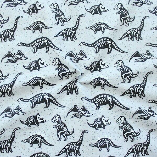 Sweatshirt Baumwollstoff French Terry Dinosaurier Mix Hell-Grau