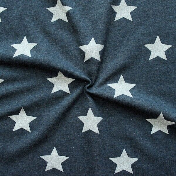 "Sweatshirt Baumwollstoff ""Glitzer Sterne XL"" Farbe Dunkel-Blau meliert"