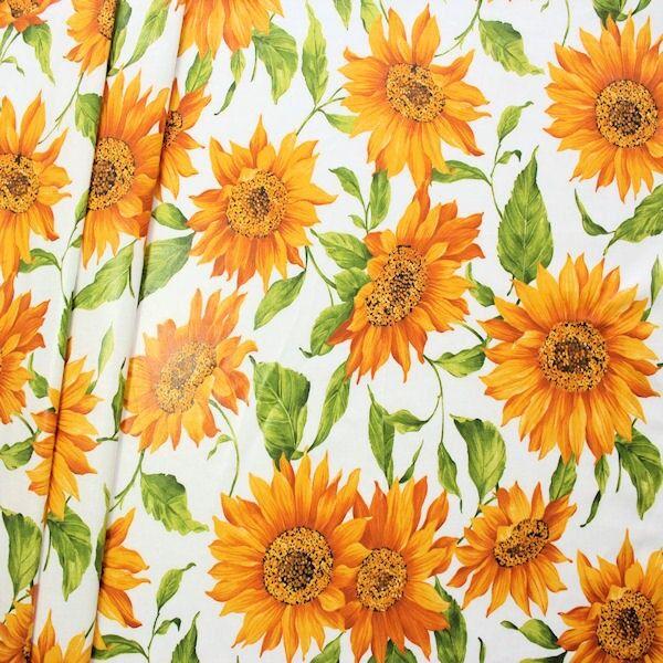"""Baumwollstoff beschichtet """"Sonnenblumen"""" Farbe Weiss"""