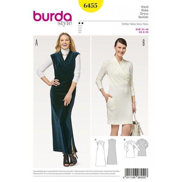 Kleid – angeschnittener Kragen – Wickeleffekt , Gr. 34 - 46, Schnittmuster Burda 6455