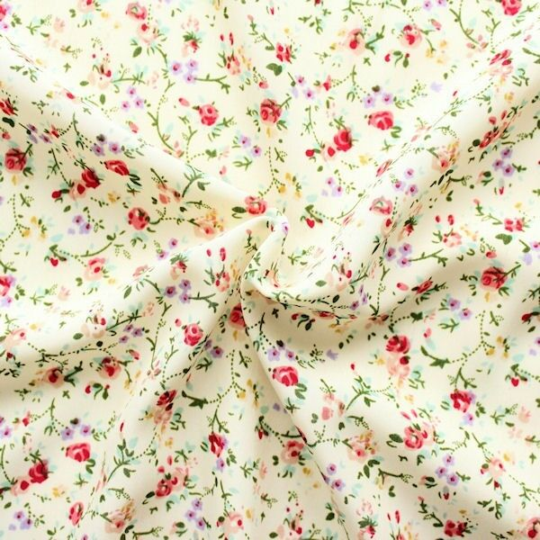 Modestoff Peach Tender Flowers Creme-Weiss