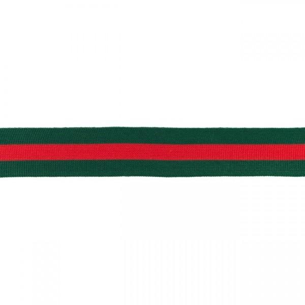 Elastikband Streifen 30mm Farbe Grün-Rot