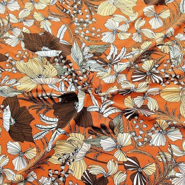 """Viskose Stretch Jersey """"Fashion Flower Mix 4"""" Farbe Orange-Braun"""