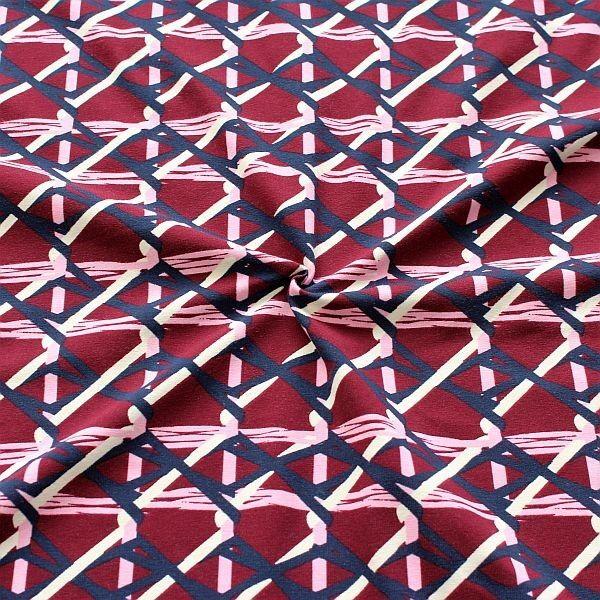 Baumwoll Stretch Jersey Ethno Grafik Weinrot