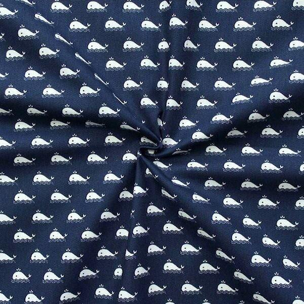 Baumwollstoff Wal klein Navyblau Weiss