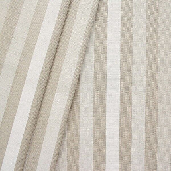 Dekostoff Streifen Natur Weiss