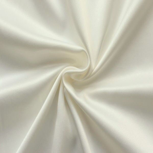 Stretch Satin Stoff 2 Farbe Woll-Weiss