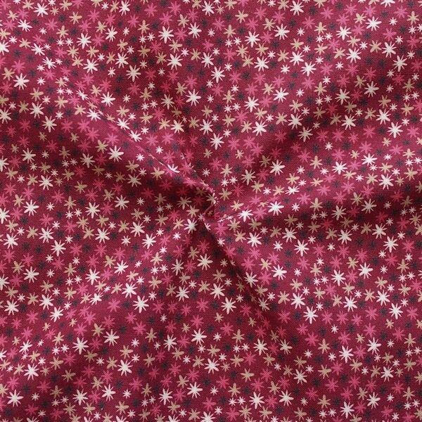 100% Baumwollstoff Twinkle Stars Bordeaux
