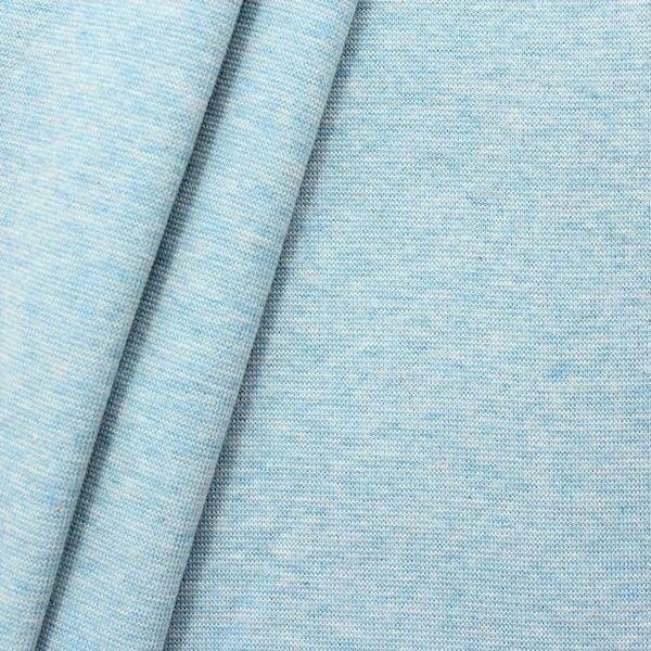 "Baumwoll Bündchenstoff ""glatt"" Farbe Hell-Blau meliert"