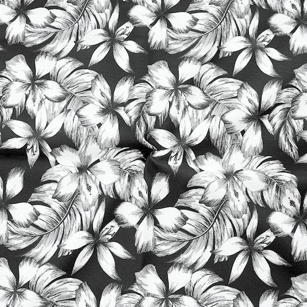 """Stretch Baumwollstoff """"Floral Print"""" Farbe Schwarz-Weiss"""