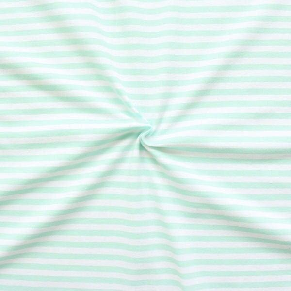 "Baumwoll Stretch Jersey ""Classic Ringel"" Farbe Weiss-Mint"