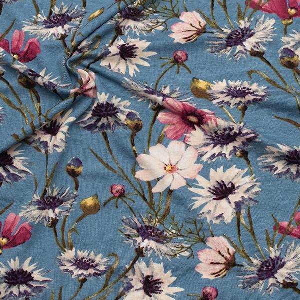 Viskose Stretch Jersey Wildblumen Tauben-Blau