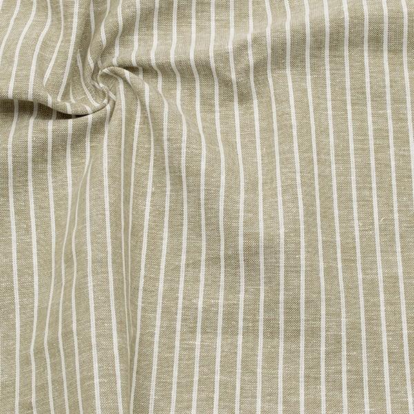 Leinen-Baumwolle Streifen Hell-Oliv