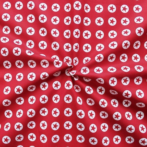 Baumwollstoff Stern in Kreis Rot