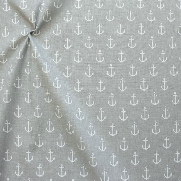 Baumwolle Popeline Anker groß Hell-Grau Weiss